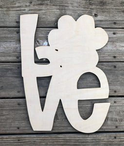 "19"" LOVE Paw Print Door Hanger Wood Cutout"