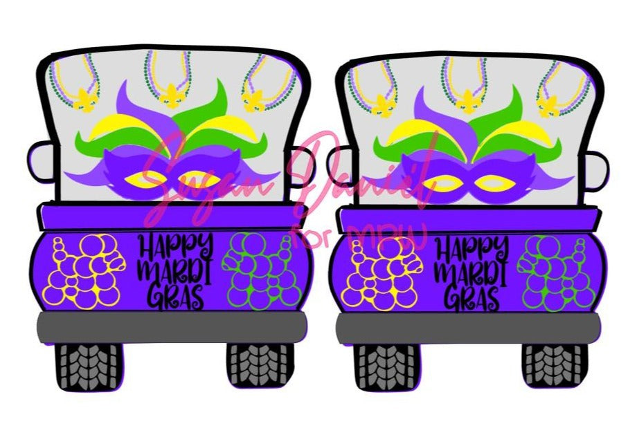 Whimsy Truck Back Mardi Gras SVG Cut File Template- DIGITAL FILE ONLY