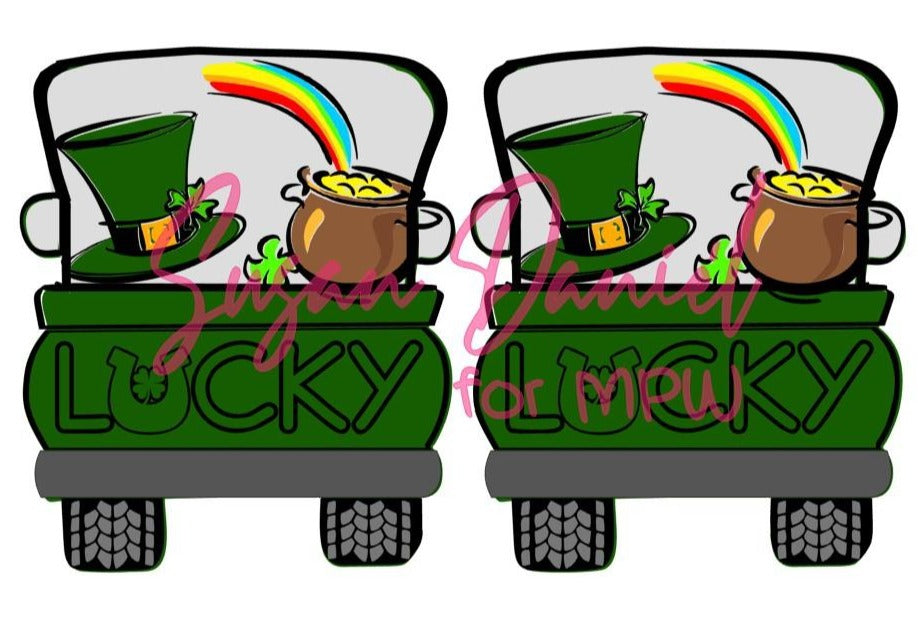 Whimsy Truck Back St. Patrick's Day SVG Digital Cut Template- DIGITAL FILE ONLY