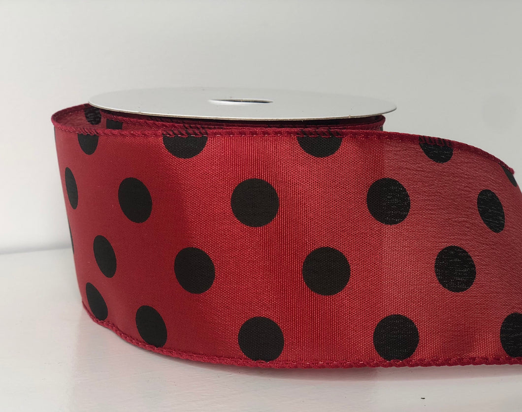 "2.5"" x 10 Yard Red With Black Polka Dot  Wired Ribbon"