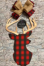 "Load image into Gallery viewer, 19"" Deer Head Door Hanger Wood Cutout"