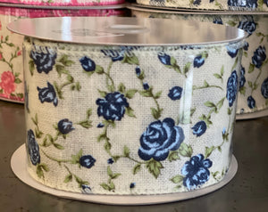 "2.5"" x 10 Yard Wired Burlap and Blue Roses Ribbon"