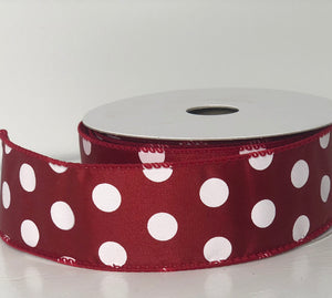 "1.5"" x 10 Yard Crimson with White Polka Dot  Wired Ribbon"