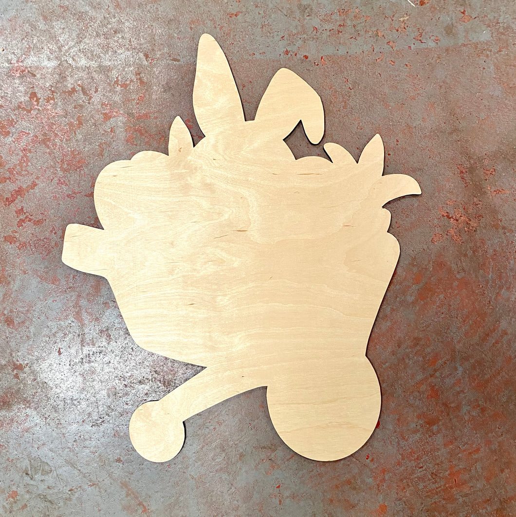 "22"" x 18"" Easter Bunny Wheelbarrow Door Hanger Wood Cutout"