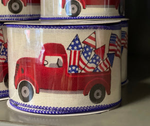 "2.5"" x 10 Yard  Linen 4th Of July Firework Truck Checked Ribbon"
