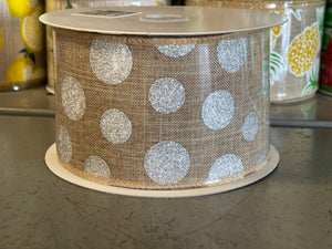 "2.5"" x 10 Yard Burlap with Silver Multi Size Dots Wired Ribbon"