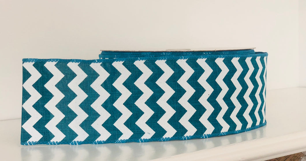 "2.5"" x 25 Yard Teal Chevron Wired Ribbon"
