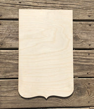 "Load image into Gallery viewer, 17"" Scroll Bottom Square Wood Cut Out"