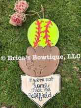 "Load image into Gallery viewer, 21"" Baseball or Softball Tri Piece Wood Door Hanger Cut Out"