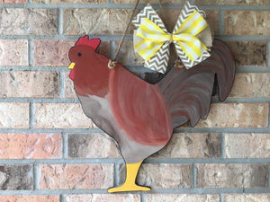 "19"" Rooster wooden door hanger"