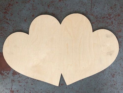 "24"" x 15"" Double Hearts Door Hanger Wood Cutout"