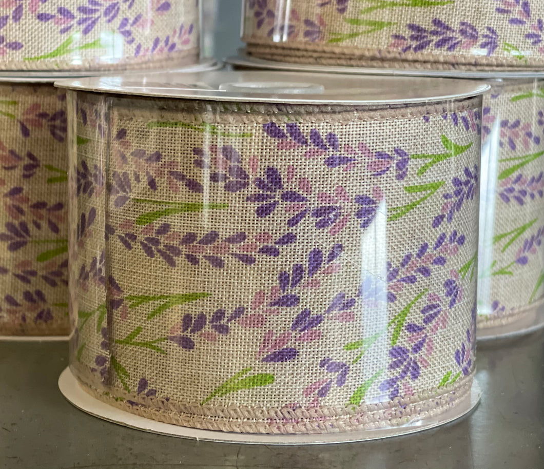 "2.5"" x 10 Yard Natural Linen Purple Hyacinth Flower Wired Ribbon"