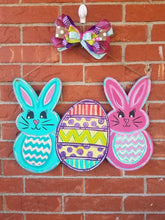 "Load image into Gallery viewer, 22"" x 15"" Bunny Egg Tri Piece Door Hanger Wood Cutout"