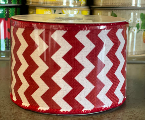 "2.5"" x 10 Yard Red Chevron Wired Ribbon"