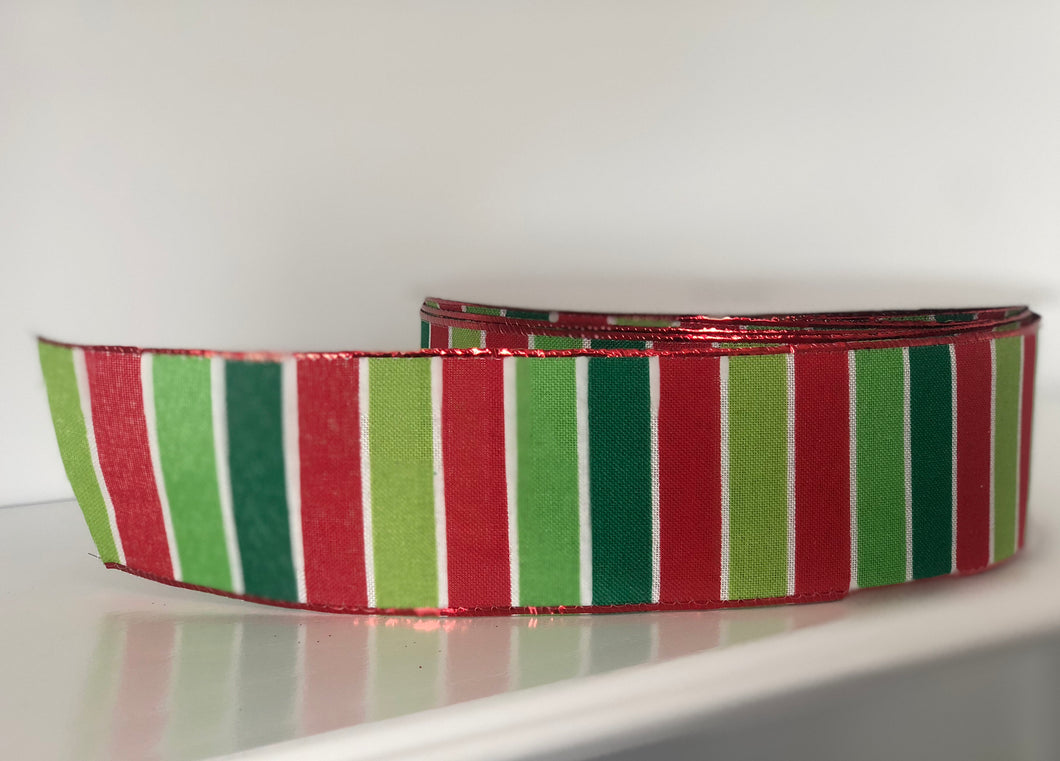 "2.5"" x 50 Yard Christmas Red and Green Striped Ribbon"