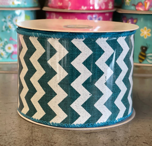 "2.5"" x 10 Yard Teal Chevron Wired Ribbon"