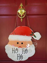 "Load image into Gallery viewer, 19"" Hanging Santa Door Hanger Wood Cutout"