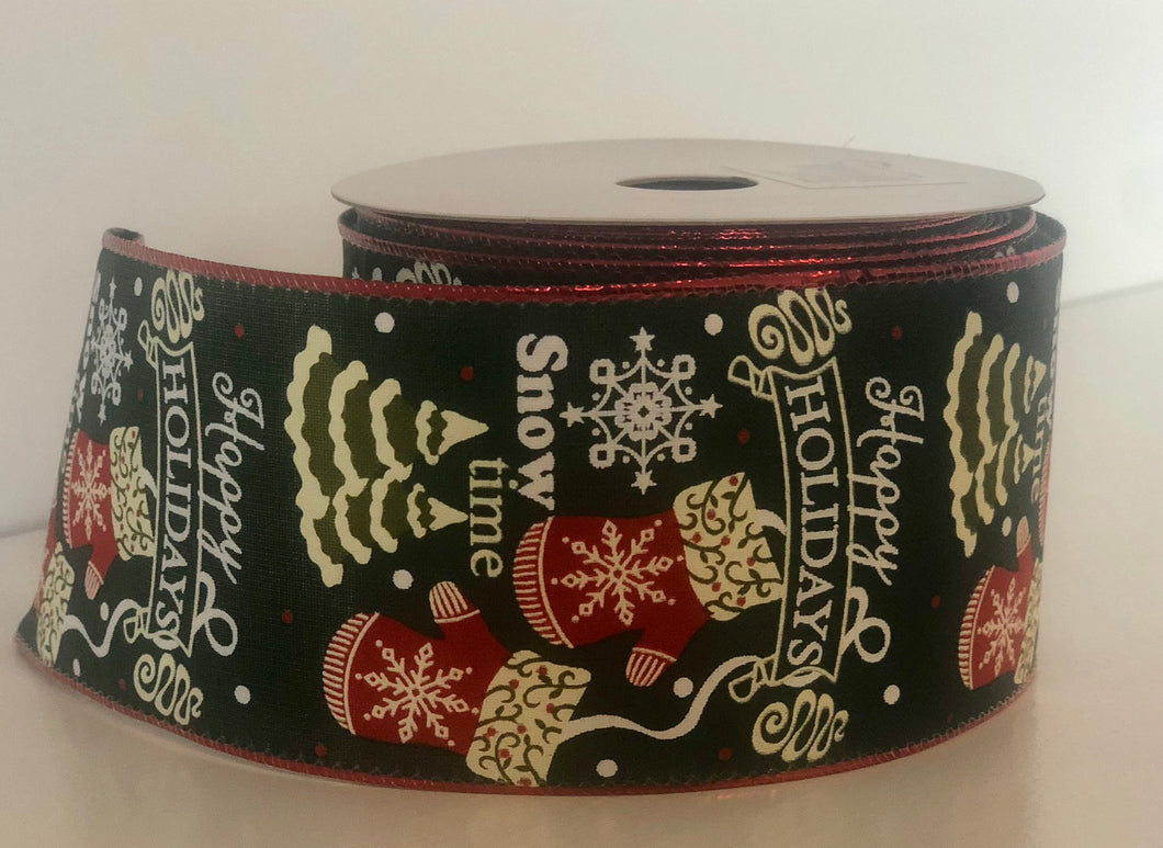 "2.5"" x 10 Yard Dark Green Mittens Happy Holiday Christmas Ribbon"