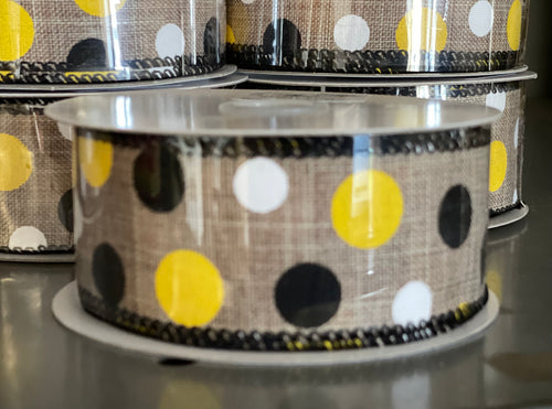"1.5"" x 10 Yard Yellow Black White Dots Canvas Wired Ribbon"