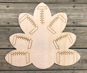 "19.5"" Football Turkey Door Hanger Wood Cutout"
