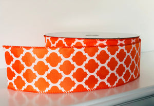 "2.5"" x 50 Yard Orange Lattice Wired Ribbon"