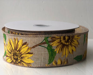 "1.5"" x 10 Yard Sunflower Print Canvas Wired Ribbon"