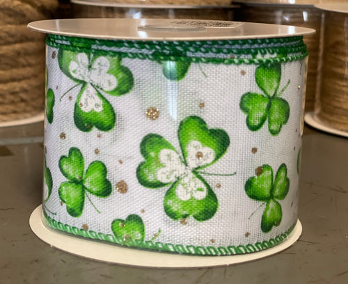 "2.5"" x 10 Yard White With Clovers Wired Ribbon"