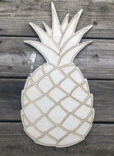 "Load image into Gallery viewer, 19"" Pineapple with Lines Door Hanger Wood Cutout"