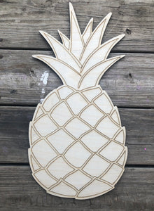 "19"" Pineapple Wood Cut Out with Lines"