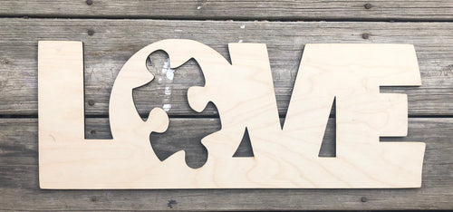 "19"" LOVE Autism Awareness Puzzle Wood Cut Out"