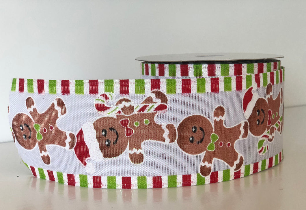 "2.5"" x 10 Yard Wired Christmas Gingerbread Man Ribbon"