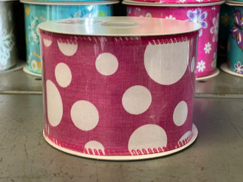 "2.5"" x 10 Yard Pink Multi Size Dots Wired Ribbon"