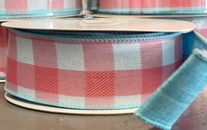 "1.5"" x 10 Yard Double Sided Coral Plaid with Aqua Reverse Wired Ribbon"