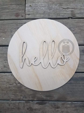 "Load image into Gallery viewer, 15"" Circle and Hello Set Door Hanger Wood Round  Cutout"