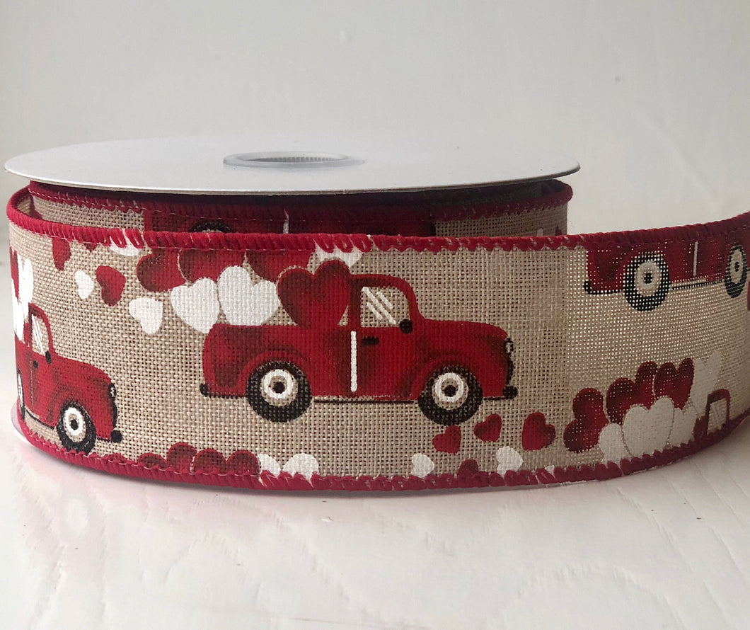 "1.5"" x 10 Yard Valentine Trucks and Hearts Print Canvas Wired Ribbon"