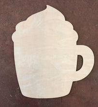 "Load image into Gallery viewer, 20"" x 18"" Coffee with Foam Door Hanger Wood Cutout"