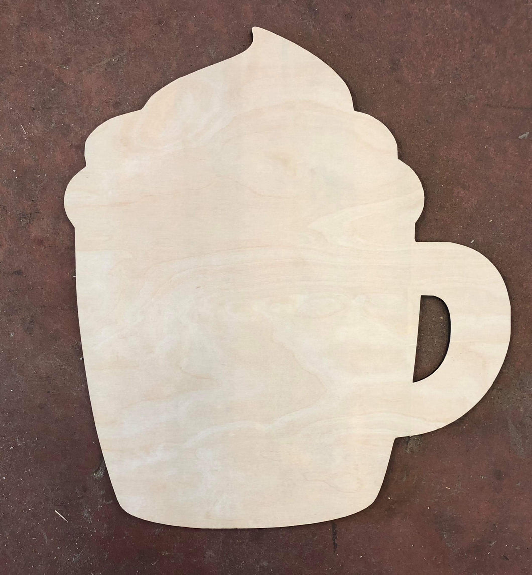 "20"" x 18"" Coffee with Foam Door Hanger Wood Cutout"
