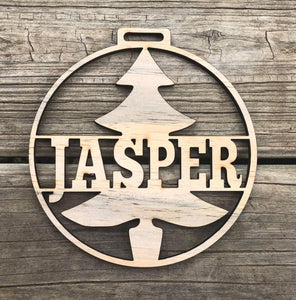"5"" Christmas Tree Custom Name Ornament"
