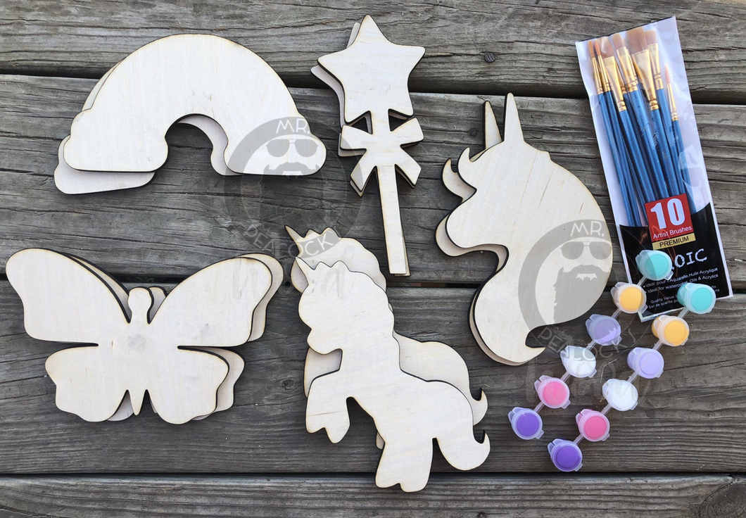 10 Pack of Unicorn Blank Wood Kit With Brushes and Paint