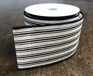 "2.5"" x 10 Yard Cream and Black Striped Wired Ribbon"