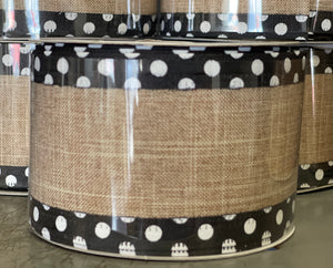 "2.5"" x 10 Yard Natural With Black Edge White Dots Wired Ribbon"
