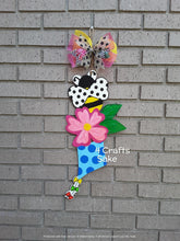 "Load image into Gallery viewer, 22"" Spring Tri Piece Butterfly Flower Kite Wooden Door Hanger Cut Out"