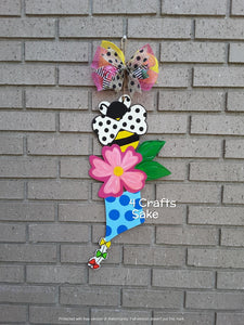 "22"" Spring Tri Piece Butterfly Flower Kite Wooden Door Hanger Cut Out"