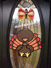 "Load image into Gallery viewer, 15"" Turkey with Lines Door Hanger Wood Cutout"