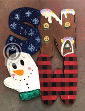 "Load image into Gallery viewer, 22"" SNOW With Mitten Door Hanger Wood Cutout"