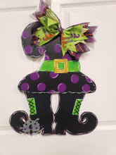 "Load image into Gallery viewer, 22.5"" Witch Hat with Boots Wooden Door Hanger"