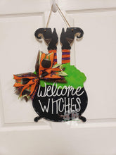"Load image into Gallery viewer, 19"" x 11.5"" Witch In Pot Door Hanger Wood Cutout"