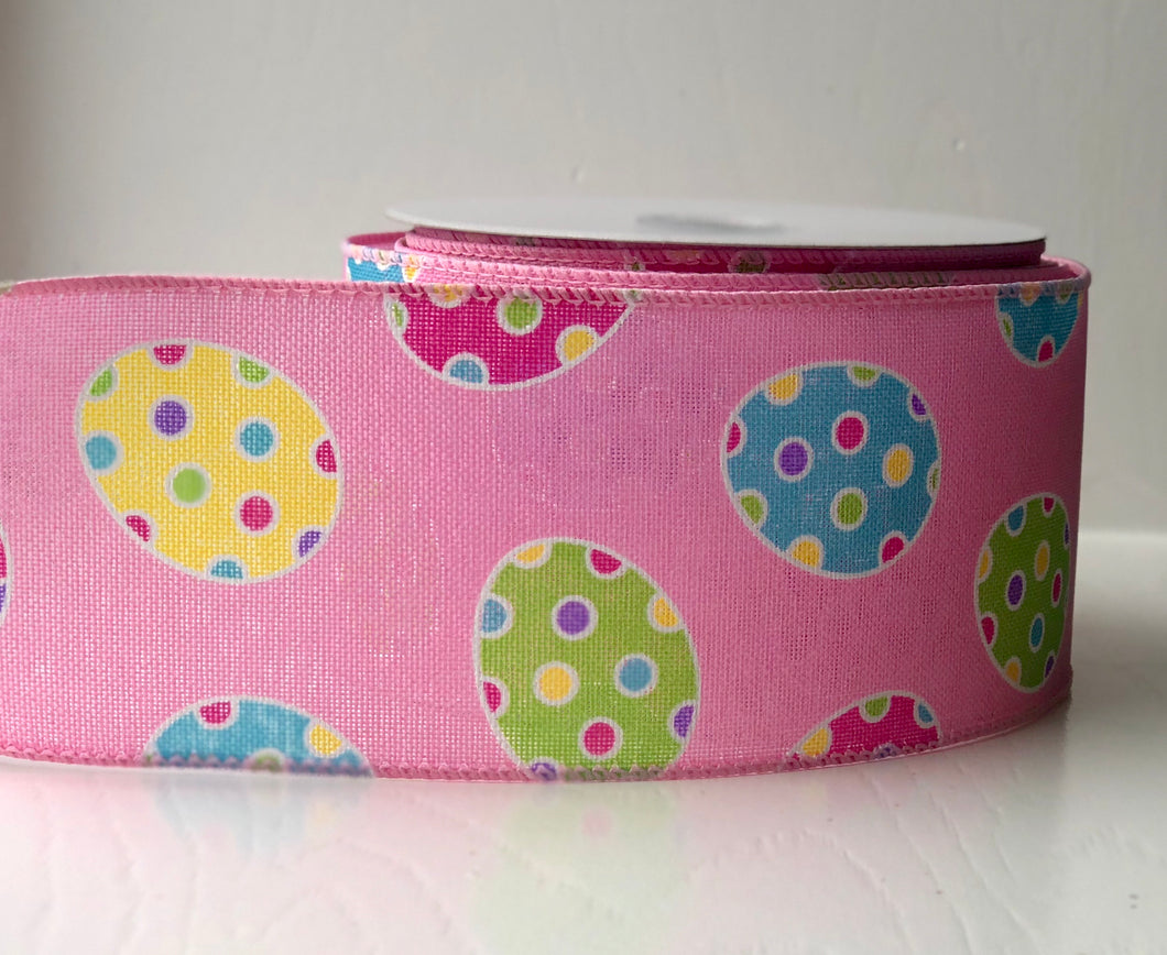 "2.5"" x 10 Yard Pink Polka Dot Easter Egg  Canvas Ribbon"