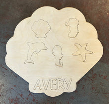 "Load image into Gallery viewer, 18"" Custom Name Sea Puzzle Wood Cutout"