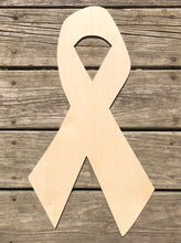 "Load image into Gallery viewer, 22"" Cancer Ribbon Awareness Ribbon Wooden Door Hanger"